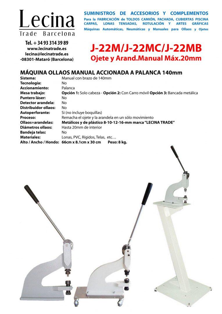 Máquina Ollaos Manual de palanca MÁQUINA OLLAOS MANUAL ACCIONADA A PALANCA 140mm J-22M / J-22MC / J-22MB